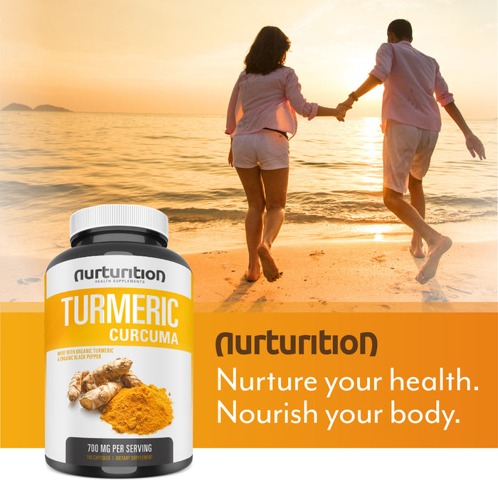 Organic Turmeric Curcumin - Joint Pain Relief and Support - with Bioperine/Black Pepper Highest Absorption - Tumeric Non-GMO Supplements - High Potency Turmeric - Made in the USA - Nurturition