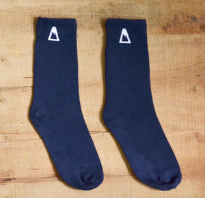 Navy Crew Socks<span class='divider'> | </span><span class='material'>Bamboo <img class='product-icon' src='https://cdn.shopify.com/s/files/1/0071/2087/9673/files/bamboo.png?7221612615797513241'></span> - Aslee
