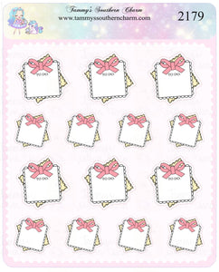 2179 - PINK BOW STICKY NOTES