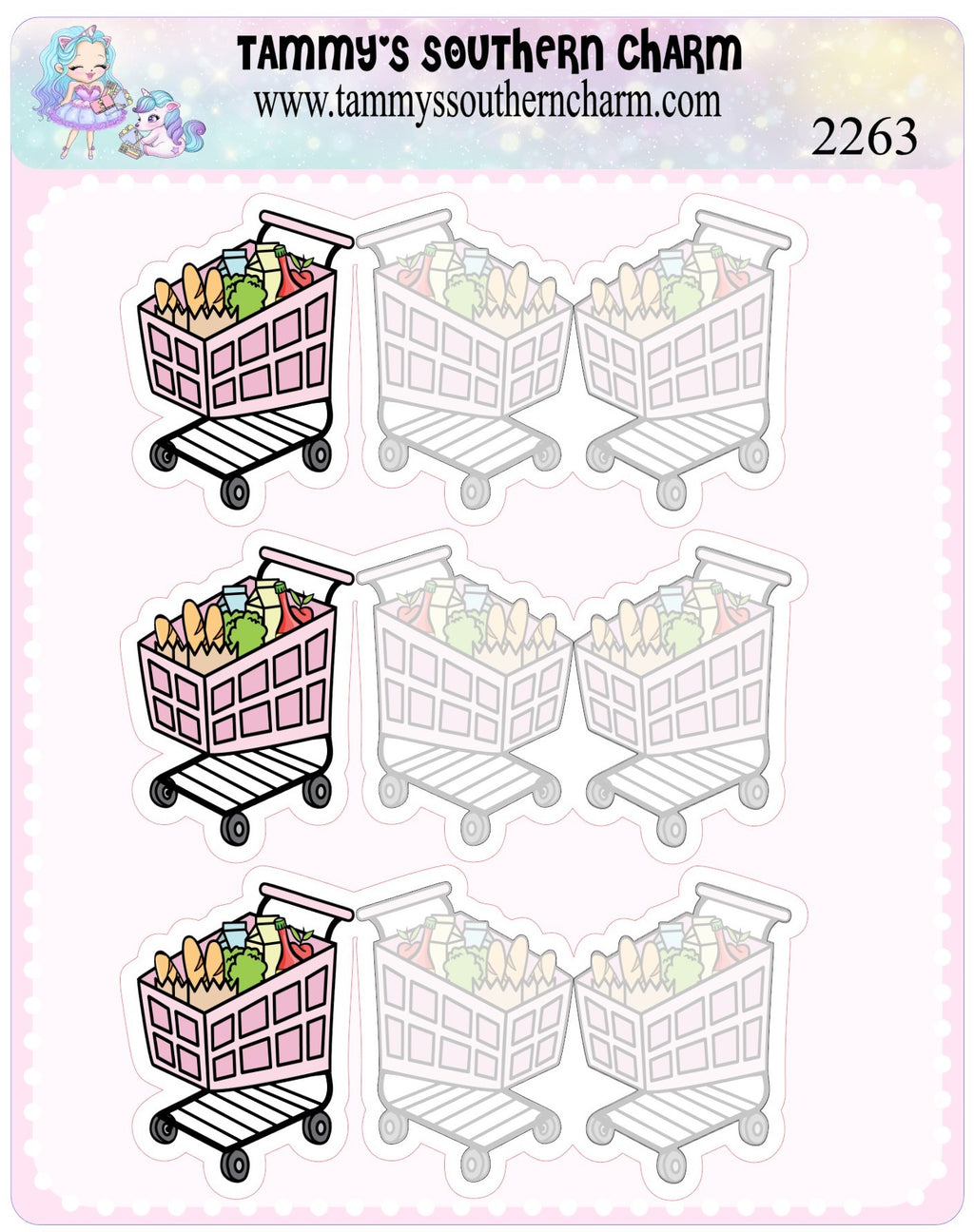 2263 - GROCERY CART - FOLD OVER STICKERS