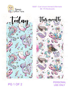 1683P - CUTE UNICORN ANIMALS & MERMAIDS B6 TN BOOKMARKS (INSTANT DOWNLOAD)
