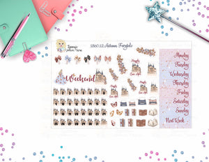 1860.12 - AUTUMN FAIRY TALE - WEEKEND BANNER, DATE COVERS, BOW PAPERCLIP STICKERS, DECO STICKERS, ETC.  6 BOW PAPERCLIP STICKERS 1 WEEKEND BANNER 8 DAY COVERS 31 DATE COVERS, 1 BLANK 26 VARIOUS DECO STICKERS SHEET SIZE:  W: 7.500 IN X H: 4.600 IN