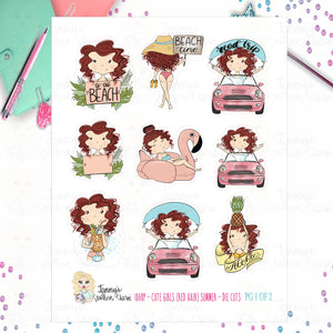 1868P - CUTE GIRLS (RED HAIR) - SUMMER - DIE CUTS (INSTANT DOWNLOAD)