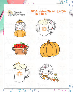 1887P - AUTUMN UNICORNS - DIE CUTS (INSTANT DOWNLOAD)