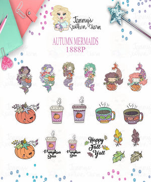 1888P - AUTUMN MERMAIDS - MINI SHEETS (INSTANT DOWNLOAD)