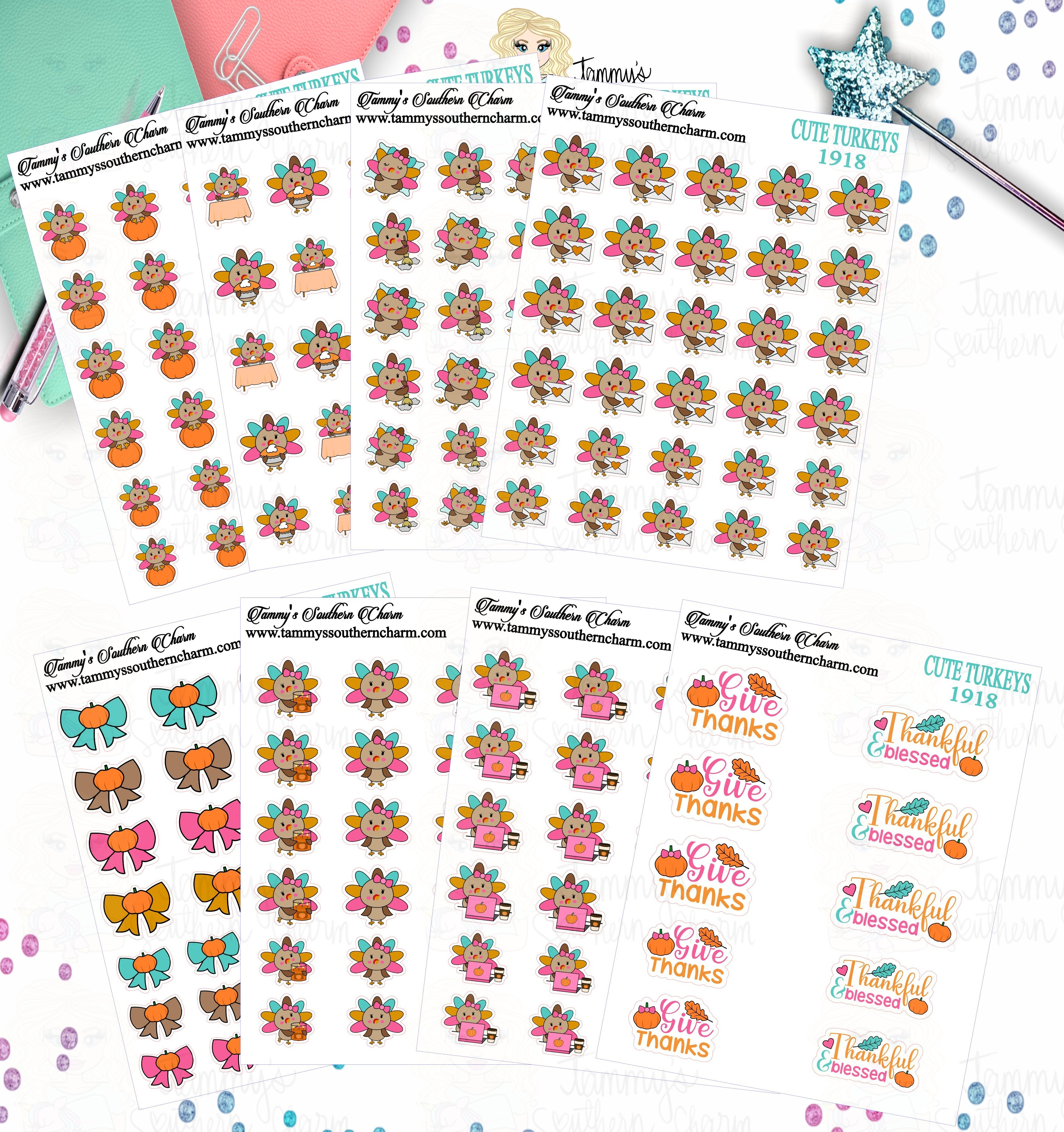 1918P - CUTE TURKEYS -  MINI SHEETS (INSTANT DOWNLOAD)