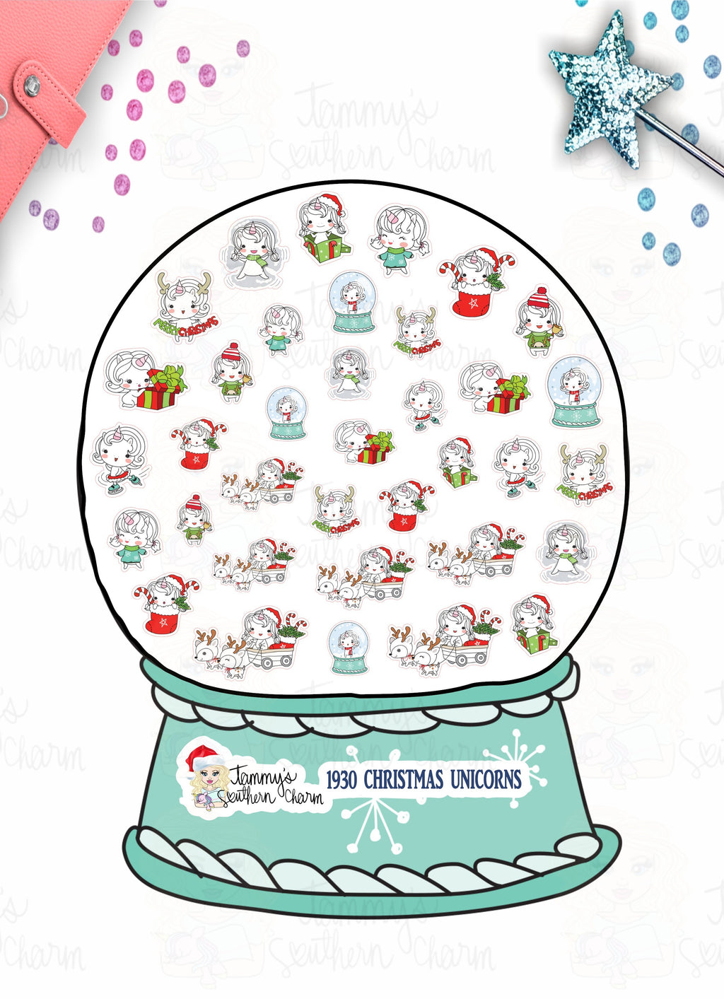 1930P - CHRISTMAS UNICORNS (INSTANT DOWNLOAD)