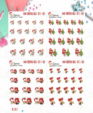 1946P - CHRISTMAS GIRLS - SET 2 - RED HAIR -  MINI SHEETS (INSTANT DOWNLOAD)