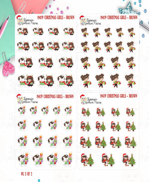 1947P - CHRISTMAS GIRLS - SET 2 - BROWN HAIR -  MINI SHEETS (INSTANT DOWNLOAD)