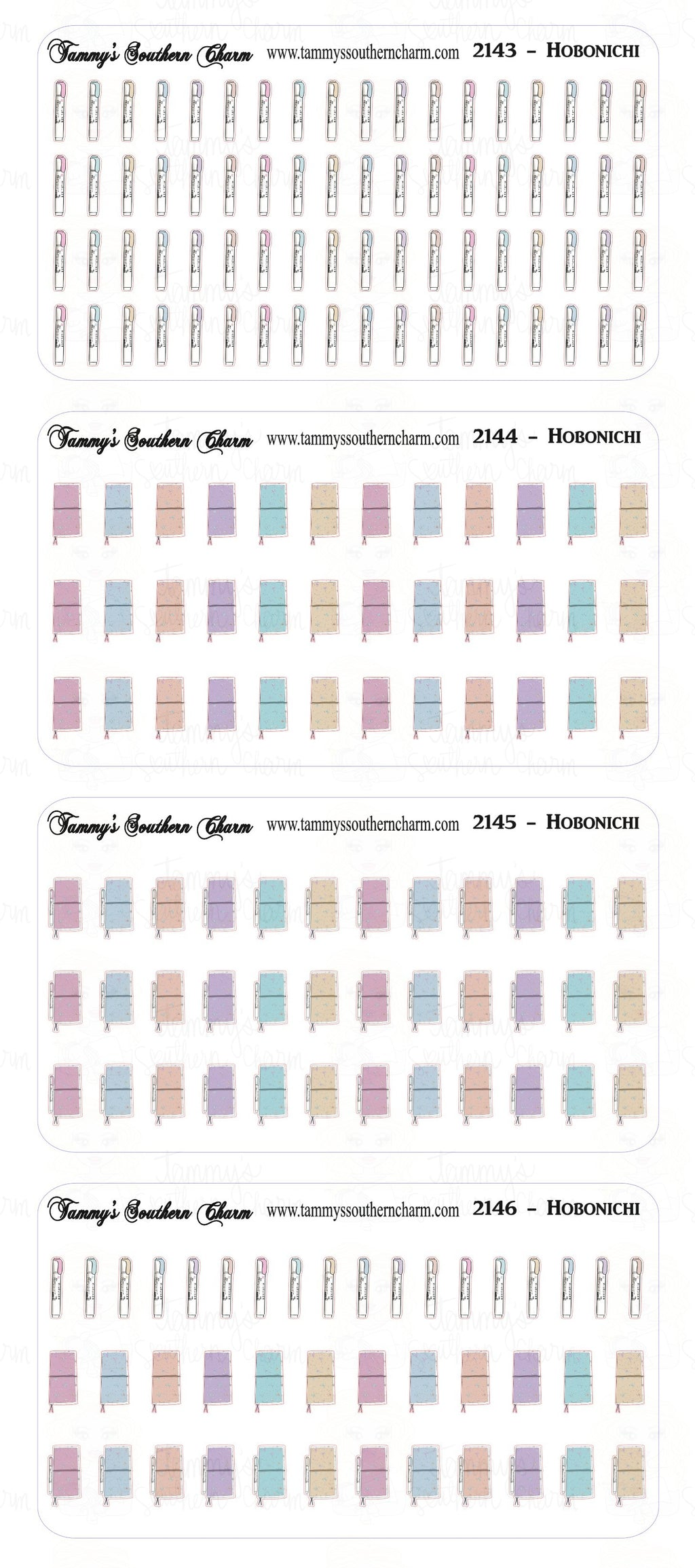 (2143 TO 2146) - MINI ICONS - HOBONICHI - CHOICE OF: SEE BELOW