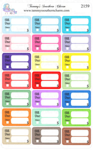2159 - BILL DUE STICKERS (SET 3)