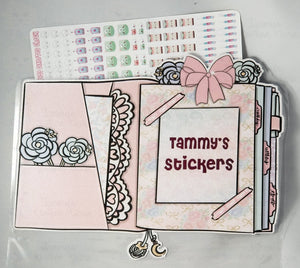 1964P - PINK BOW PLANNER - STICKER POUCH - LARGE - (INSTANT DOWNLOAD)