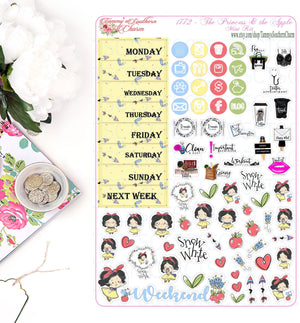 1772 PRINCESS & THE APPLE - Stickers, Planner Stickers, Traveler's nb stickers, Planner Layout, Princess Stickers, snow white inspired