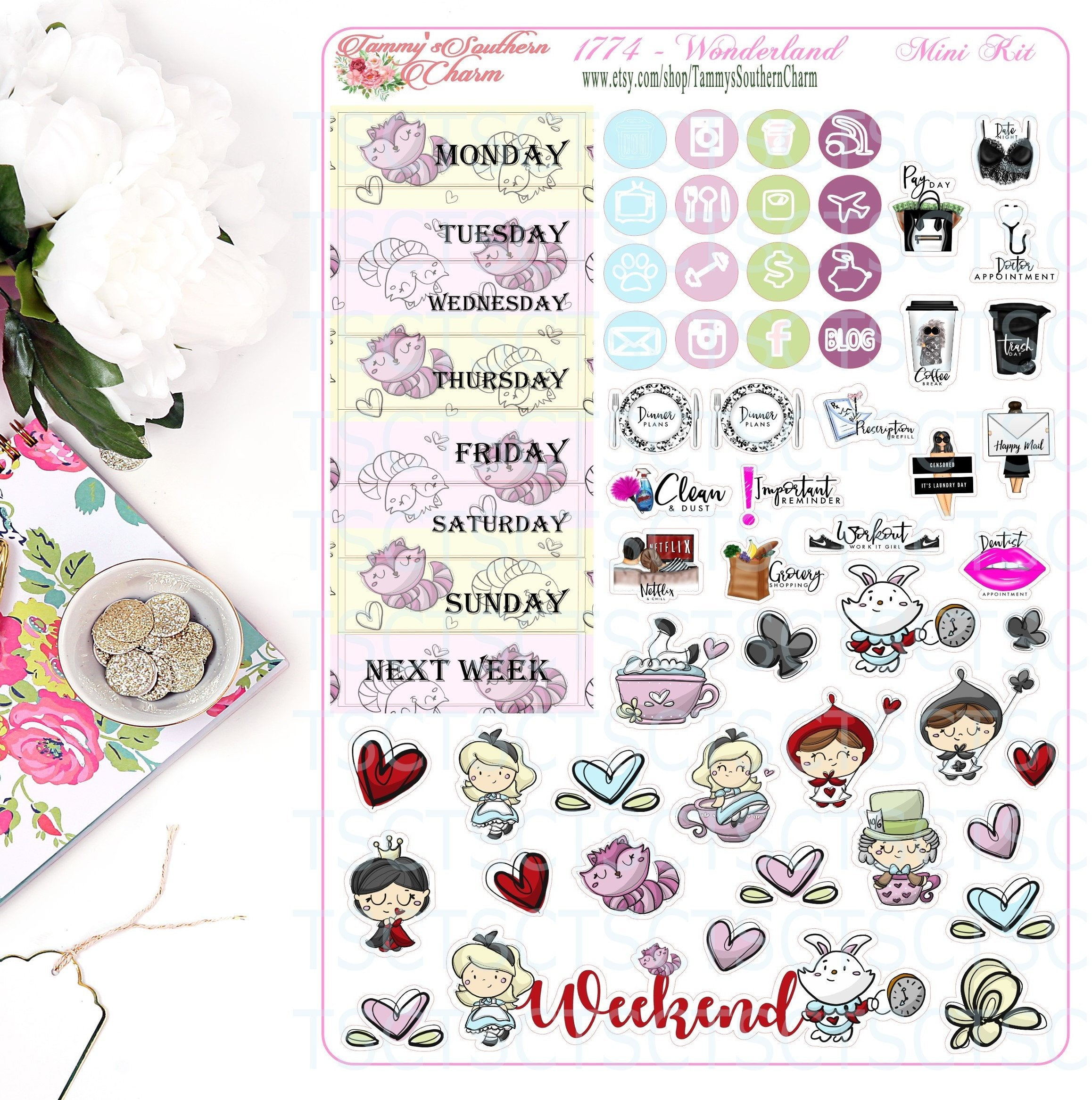 1774  ALICE'S WONDERLAND - Stickers, Planner Stickers, Traveler's nb stickers, Planner Layout, Princess Stickers, Princess Layouts