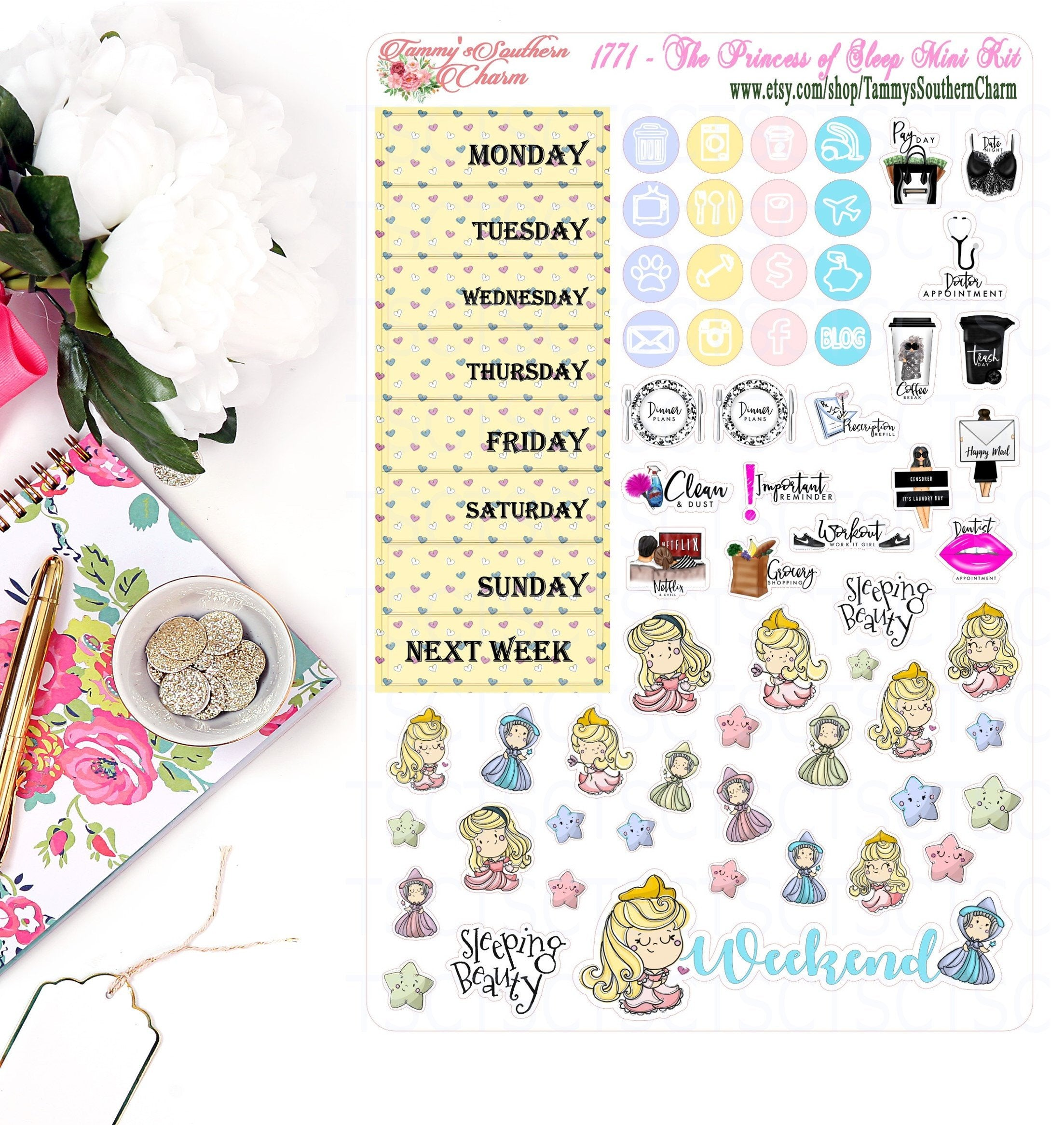 1771 PRINCESS OF SLEEP - Stickers, Planner Stickers, Traveler's nb stickers, Planner Layout, beauty sleep, Princess Stickers