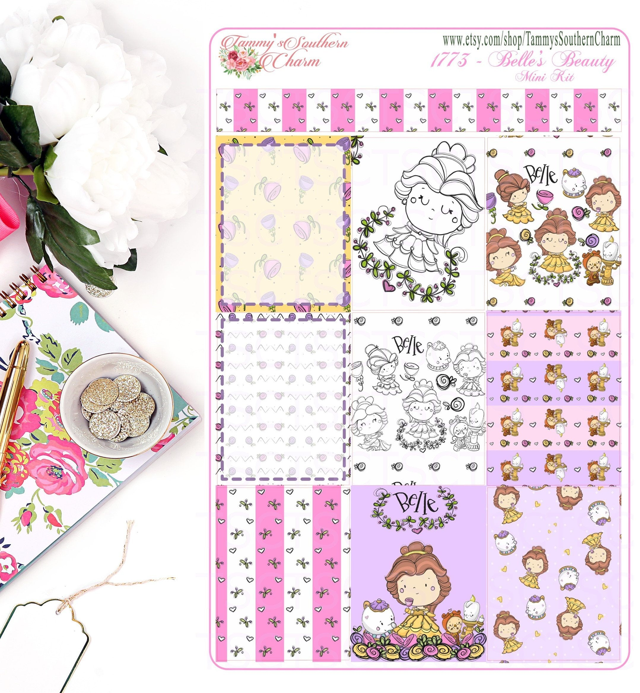 1773 BELLE'S BEAUTY - Stickers, Planner Stickers, Traveler's nb stickers, Planner Layout, Princess Stickers, Princess Layouts
