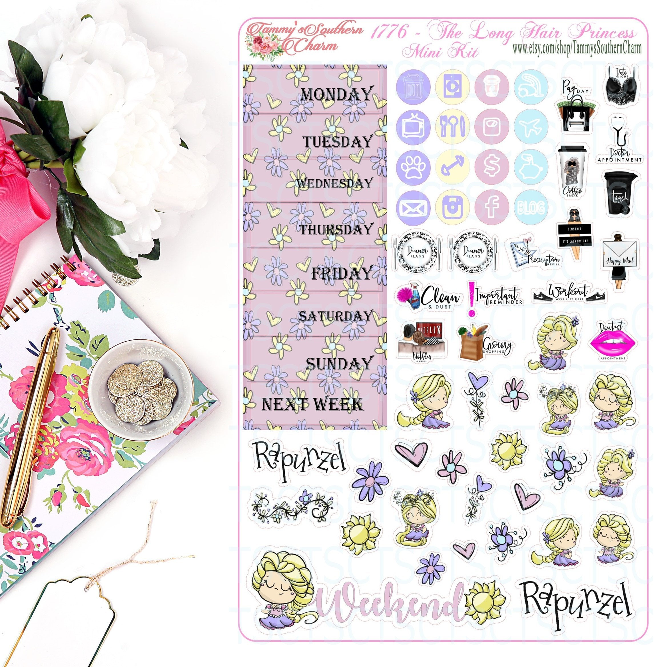 1776 LONG HAIR PRINCESS - Stickers, Planner Stickers, Traveler's nb stickers, Planner Layout, Princess Stickers, Princess Layouts