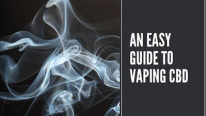 Black background with smoke, text: An easy guide to vaping CBD