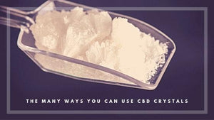 Scoop with CBD Crystals. Text: The Many Ways You Can Use CBD Crystals UK