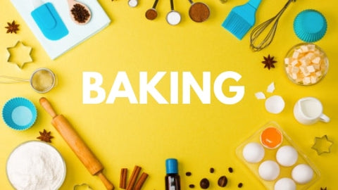 Yellow background with backing ingredients around the text: Baking