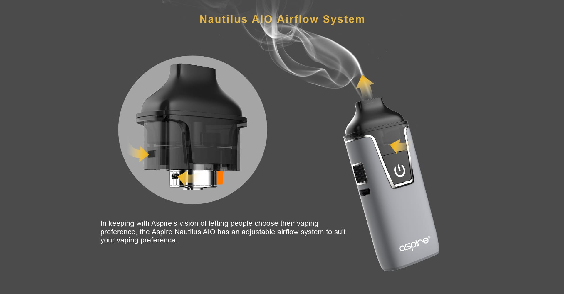 Aspire Nautilus Adjustable Airflow System. Text: In keeping with Aspire's vision of letting people choose their vaping preference, the Aspire Nautilus AIO has an adjustable airflow system to suit your vaping preference.