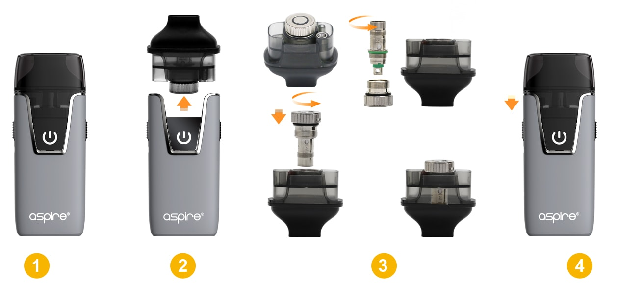 Diagram of how to install the Aspire Nautilus coil/atomizer