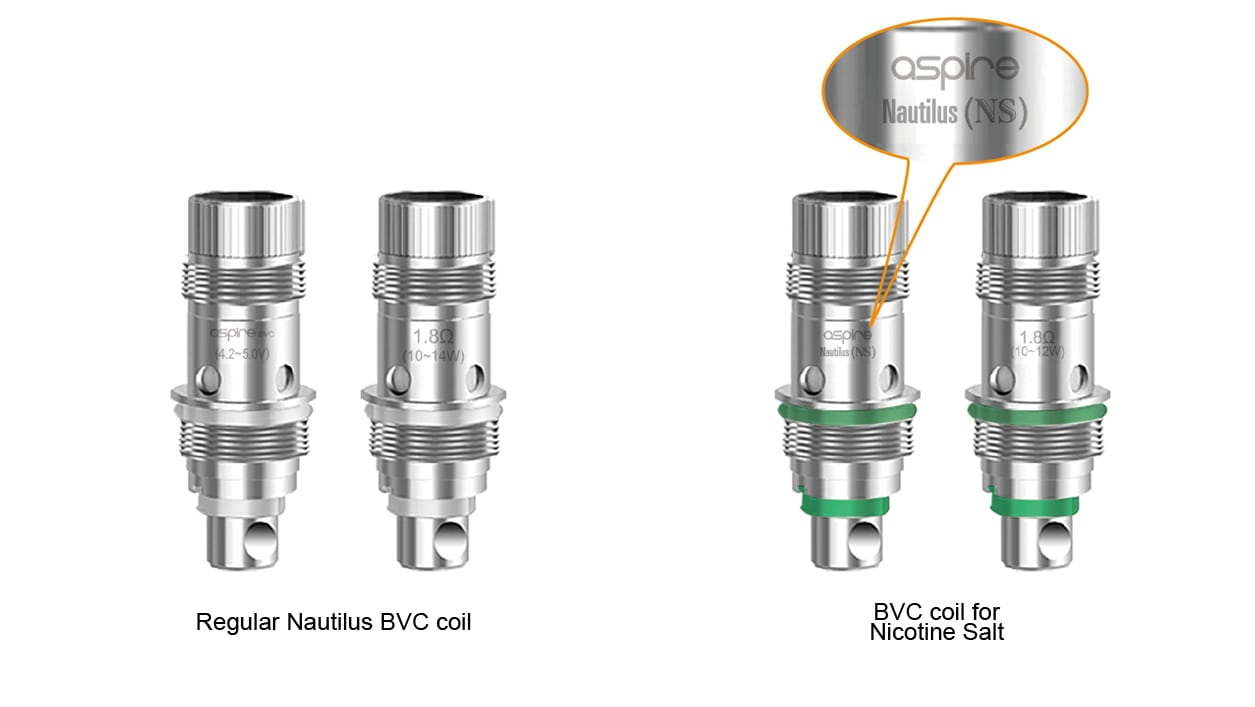 Nautilus Atomizers/Coils Side by Side