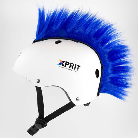 XPRIT Mohawk, Warhawk Wig Accessory Adhesive/Stick On Helmet for Skateboarding, Dirt-Bikes, Motorcycle, Cycling, Blue Hair