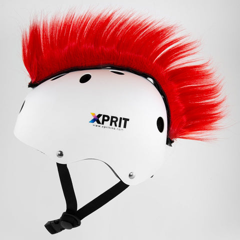 XPRIT Mohawk, Warhawk Wig Accessory Adhesive/Stick On Helmet for Skateboarding, Dirt-Bikes, Motorcycle, Cycling, Red Hair
