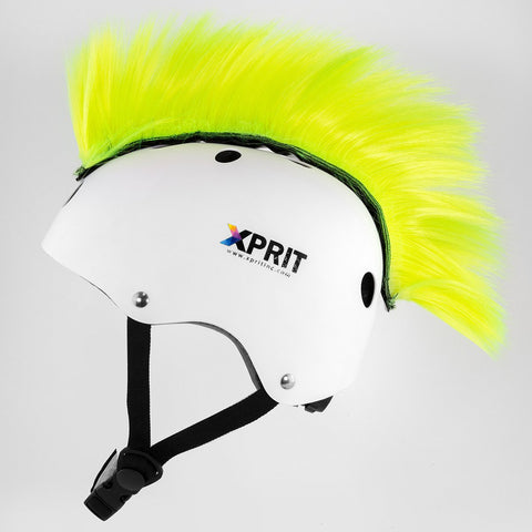 XPRIT Mohawk, Warhawk Wig Accessory Adhesive/Stick On Helmet for Skateboarding, Dirt-Bikes, Motorcycle, Cycling, Yellow Hair
