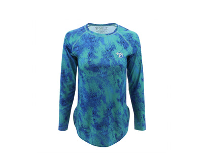 Gillz Women's SeaBreeze Long Sleeve Fishing Shirt - Bristol Blue Grunge Scales