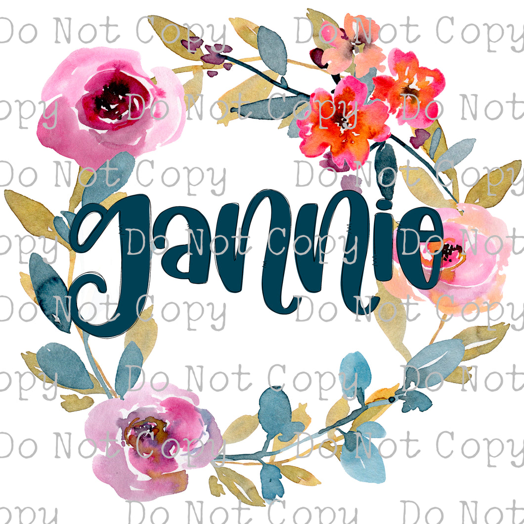 Grannie Floral Wreath #SB-217- HEAT TRANSFER