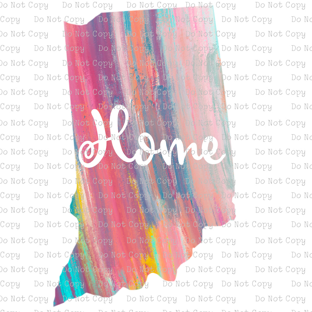 Indiana Watercolor Home #SB-312 - HEAT TRANSFER