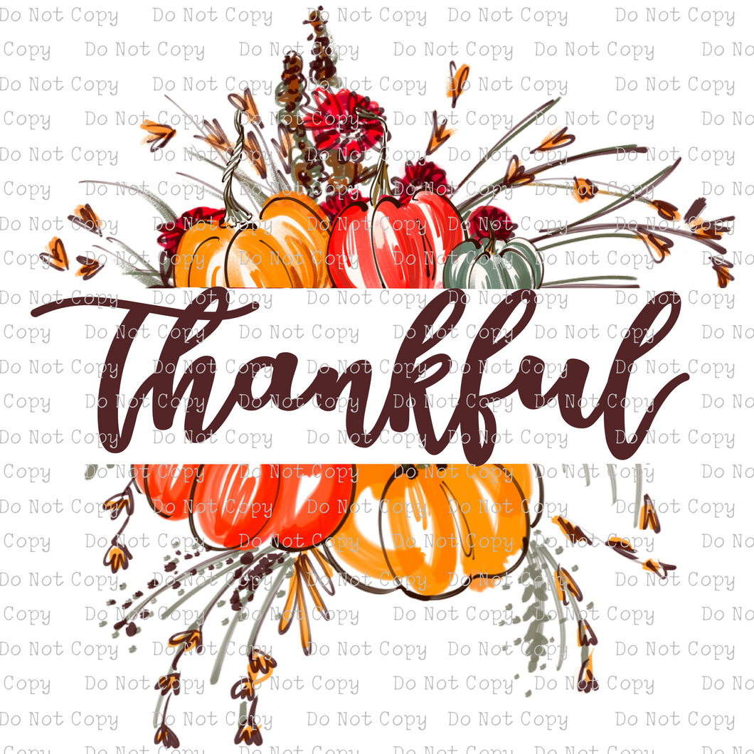Floral Thankful Pumpkin #SB-859 - HEAT TRANSFER