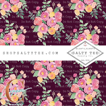 Burgundy my Floral #C-8 - SHEET VINYL