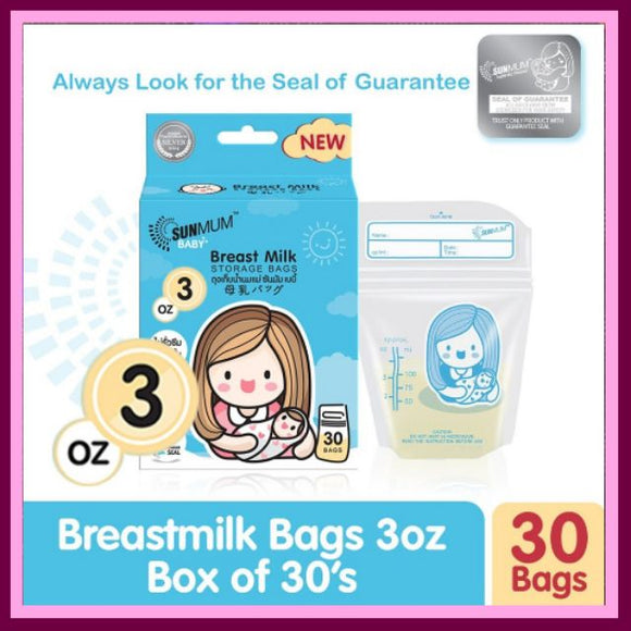 Sunmum Breastmilk Bags 3 oz Box of 30s