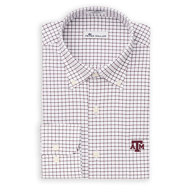 Texas A&M Peter Millar Stretch Tattersall Woven Sport Shirt