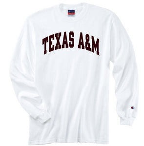 Texas A&M Champion Long Sleeve Jersey T Shirt - White