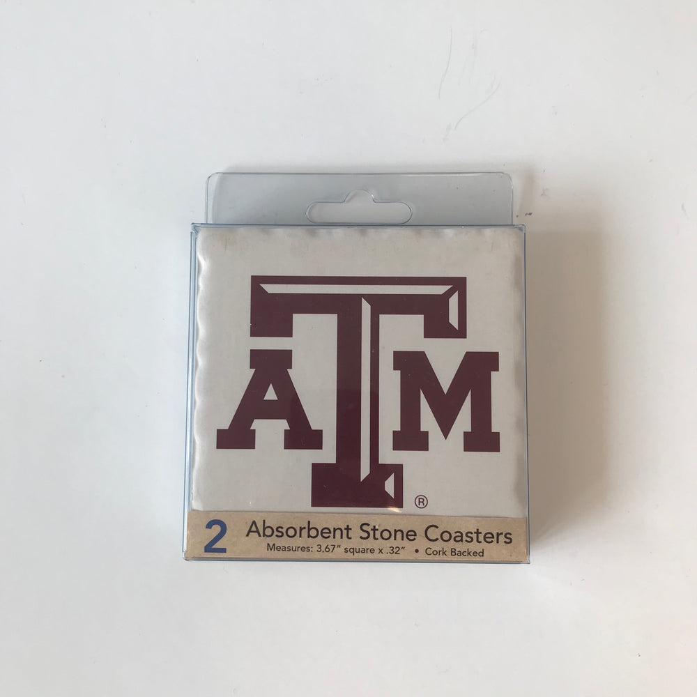 Texas A&M Absorbent Stone Coasters - 2 pack
