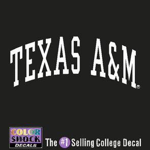 White Arched Texas A&M Decal