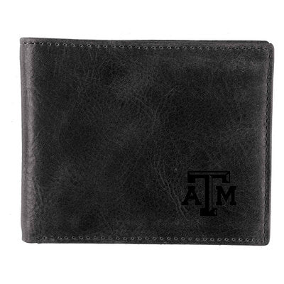 Texas A&M Black Leather Bifold Wallet