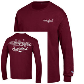 "Texas A&M Champion Maroon Long Sleeve Jersey Tee ""Aggieland"""