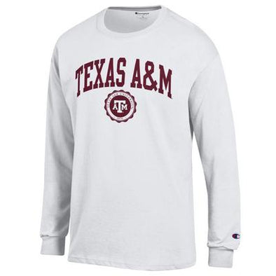 Texas A&M Champion White Long Sleeve Jersey Tee with Seal