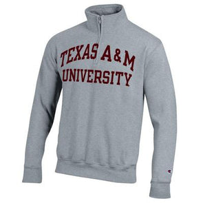 Texas A&M Champion Powerblend Pocketless Quarter Zip - Grey