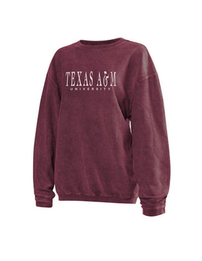 Texas A&M Chicka D Corded Crewneck - Maroon