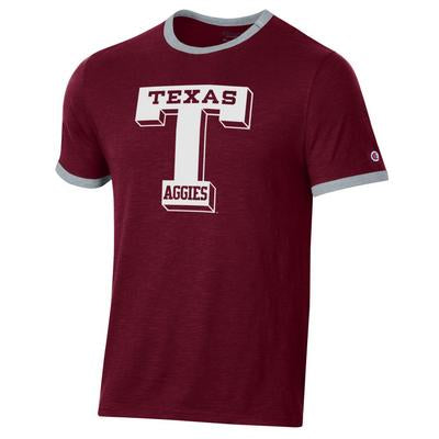 Texas A&M Champion Rochester Slub Ringer Tee