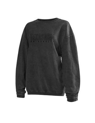Texas A&M Chicka D Corded Crewneck- Charcoal