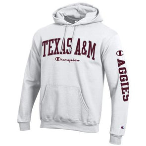 Texas A&M Champion Powerblend White Hood - Aggies