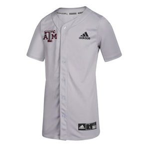 Adidas Texas A&M Adult Diamond King Elite Full Button Baseball Jersey