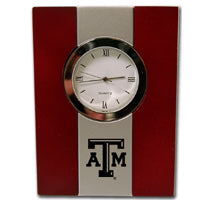 TEXAS A&M AGGIES WOOD AND METAL DESK CLOCK